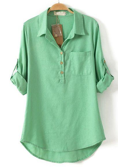 Green Lapel Long Sleeve Pocket Dipped Hem Blouse