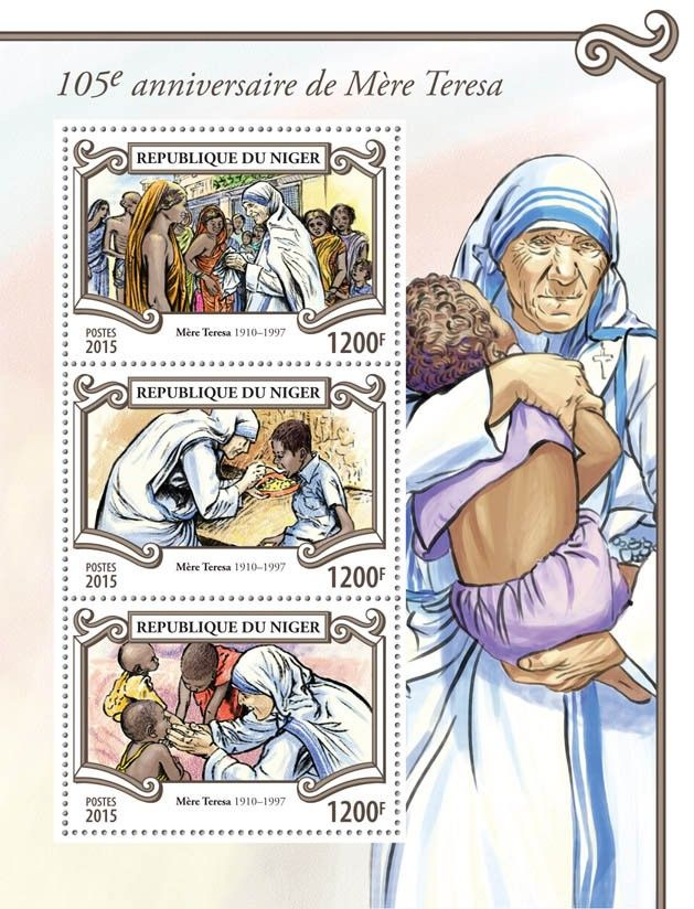 Post stamp Niger NIG 15303 a105th anniversary of Mother Teresa (1910–1997)