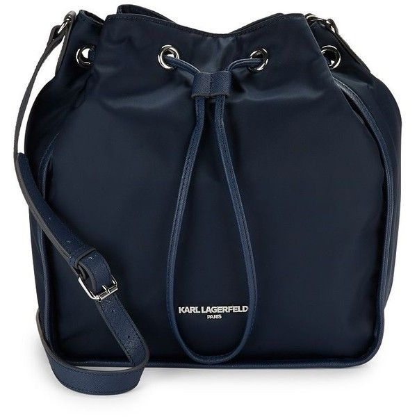 Karl Lagerfeld Paris Women's Elise Drawstring Crossbody Bucket Bag ($88) ❤ liked on Polyvore featuring bags, handbags, shoulder bags, navy, blue crossbody, navy purse, crossbody purses, navy blue purses and navy blue handbags