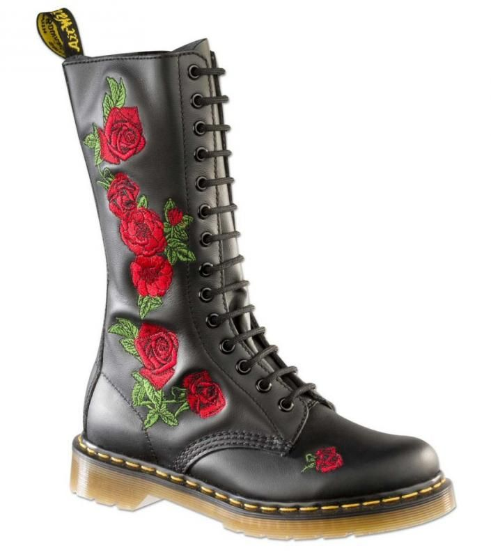 Dr Martens Vonda 14 Eye Boot Rose-Embroidery. I own these, my favourite boots ever.