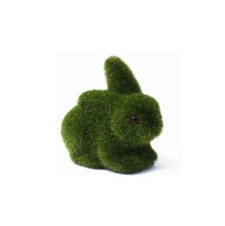 Moss turf rabbit - small $7.95 incl tax  Adorable moss/turf bunny.   Outer is artificial turf, inner is foam.  Perfect as a cute gift, to add to your home decor or just because they are so super cute!  Dimensions : 7.5 cms height x 9 cms wide