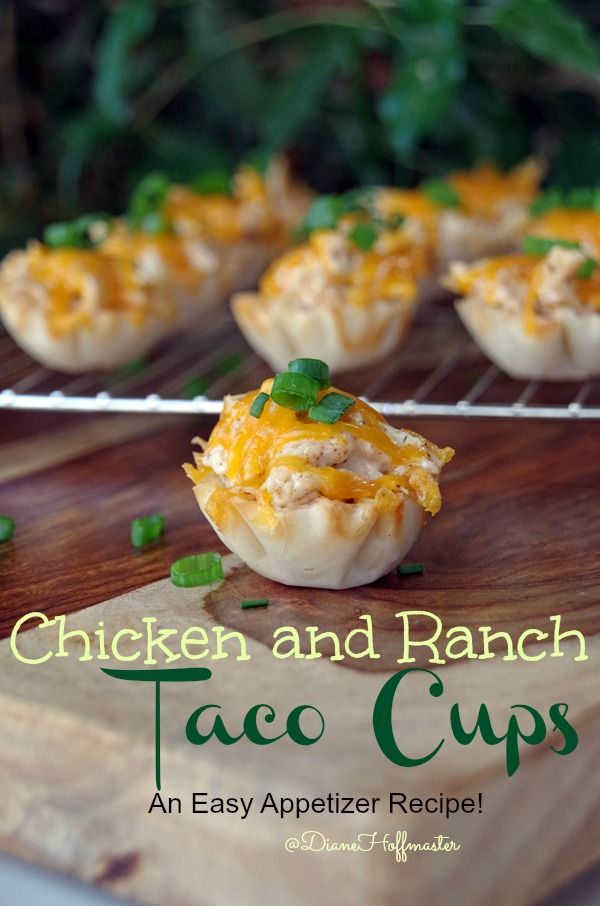 Need an easy game day appetizer recipe? These Chicken and Ranch Taco Cups are delicious!