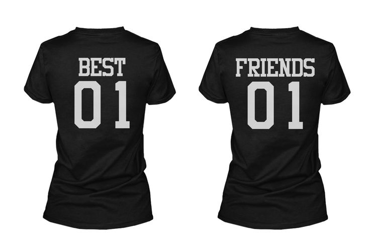 Best 01 Friend 01 Matching Best Friends T Shirts BFF Tees For Two Girls Friends