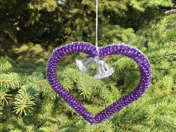Purple Handmade Christmas Ornament Purple by UniqueWeddinCreation