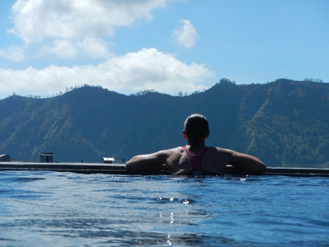 immersed in the hot springs overlooking Lake Batur....where would you rather be...  photo by our special guest Amanda Brownhill