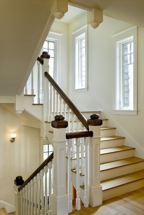 Staircase windows. Use same frosted (bubble) glass treatment in upper panels as in the kitchen cabinets and home office French doors.
