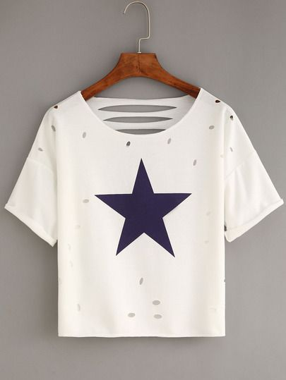 Ripped Star Print White T-shirt