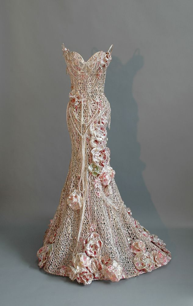 "Sophie DeFrancesca ~ ""Pink Paradise"" (2014) Mixed media, wire mesh *dress sculpture* 61 x 40 x 36 in. 