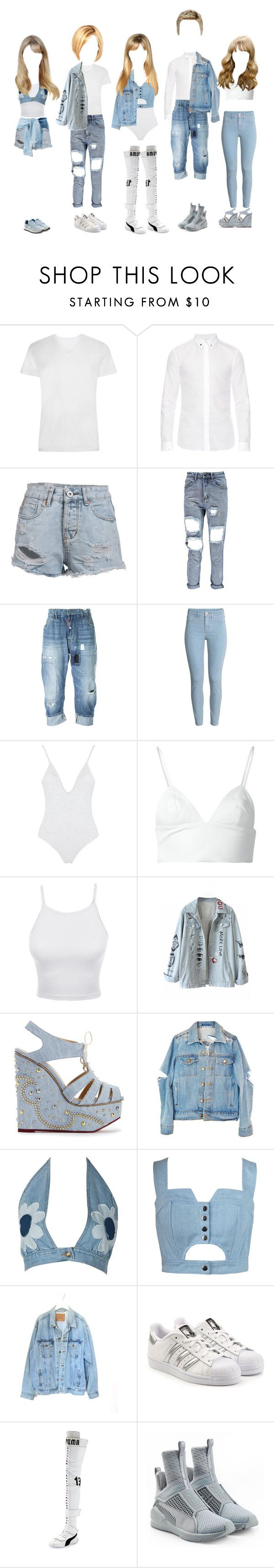"""""""Quintuplets Team"""" by everysimpleplan ❤ liked on Polyvore featuring Givenchy, Dsquared2, T By Alexander Wang, LE3NO, Charlotte Olympia, WithChic, Chicnova Fashion, Levi's, adidas Originals and Puma"""