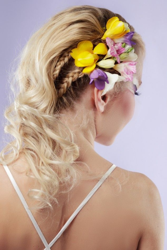 Floral Bride Hairstyle  #pmtsslc #paulmitchellschools #wedding #bride #bridalhair #hair #style #hairstyle #hairstyles #inspiration #ideas #love #beauty #twist #ponytail #flowers #braid #braids #braided #curls #curly #waves #wavy