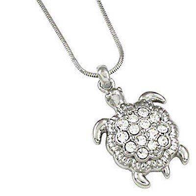 Cute Silver Plated 1 Turtle Charm Necklace with Austrian Crystals For Girls, Tweens, Teens, http://www.amazon.com/dp/B00DPOJT4G/ref=cm_sw_r_pi_awd_UOP-rb1R54WRB