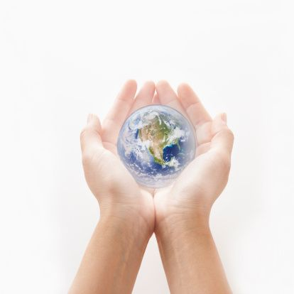 A Miniature Earth Is On The Palms Stock Photo 82487031