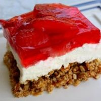 omg this stuff is delishhh!!! strawberry jello cheesecake with pretzel crust!