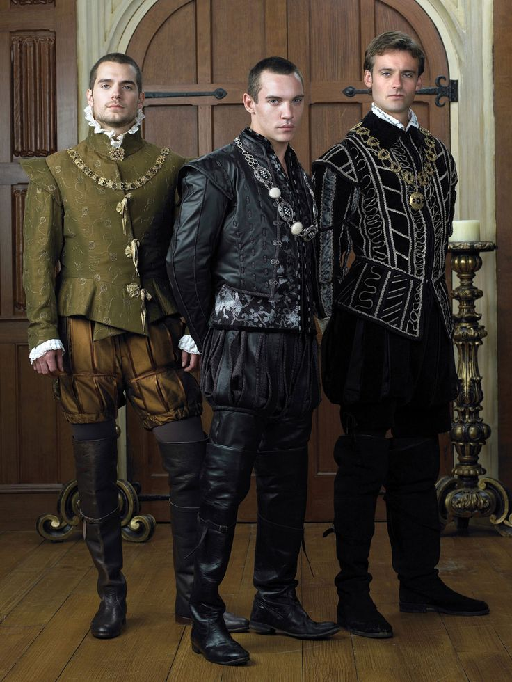 The Tudors costumed by Joan Bergin.  Codpieces would have been nice. And accurate. But then this is the late Tudor style they're rocking. To heck with accuracy, right? *grumble*