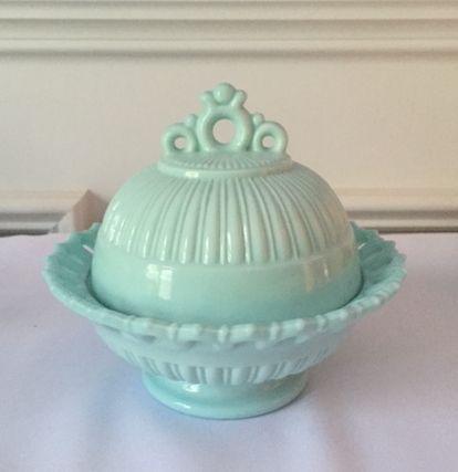 Fostoria Randolph Preserve Dish and Cover, Aqua Milk Glass, 1950's