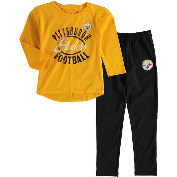 Pittsburgh Steelers Girl's Preschool Fan Gear Fan Gear Football Sweetheart Long Sleeve T-Shirt and Pant Set - Gold - $44.99
