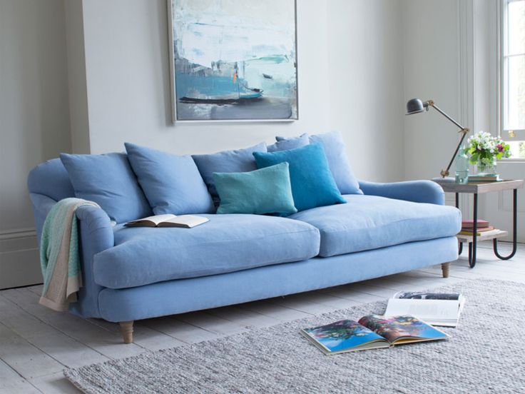 Love the powder blue colour of the sofa