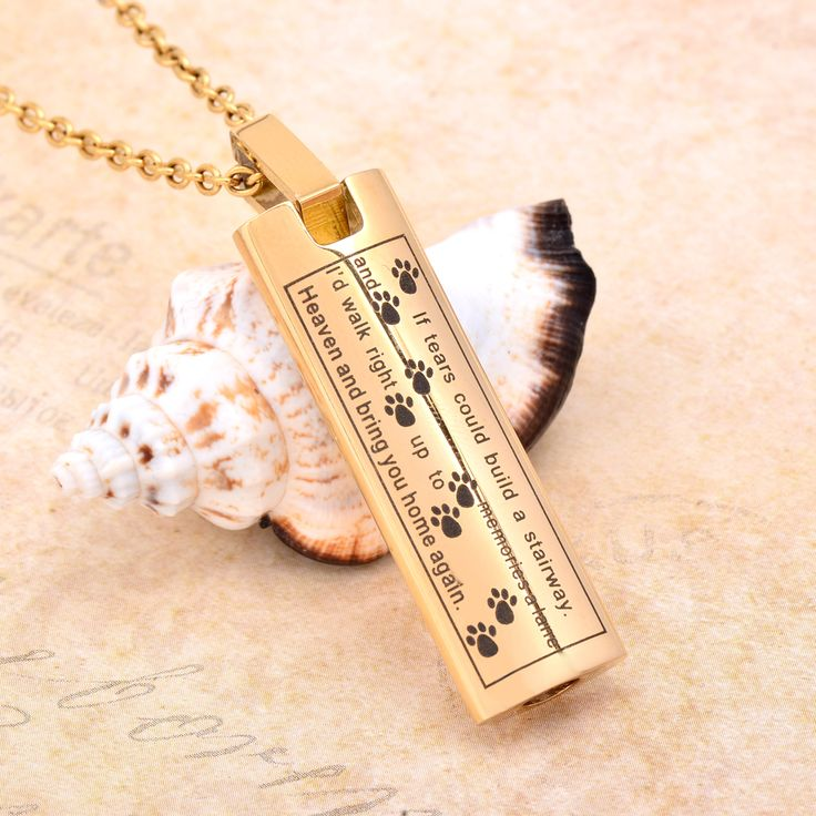 CMJ9137 Golden engraved stainless steel cremation Pendant memorial  jewelry  Keepsake Urn necklace Men Jewelry