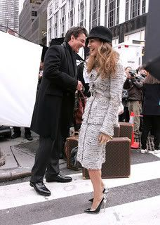 Sarah Jessica Parker aka Carrie Bradshaw with Mr. Big wearing silver heeled pumps by Balenciaga Fall/Winter 2008