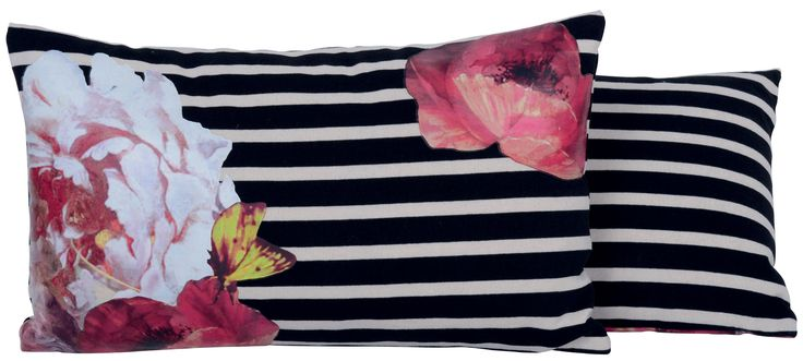 Black and white floral pillow, Jean Paul Gaultier. http://www.facebook.com/kenisa.home