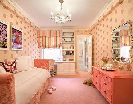 This room looks perfect for a little girl... love the coral