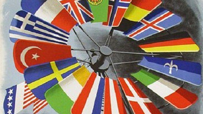 """Так изображали художники """"План Маршалла"""". США крутят вертушку, Европа крутится. Добавьте к флагам флаг России и сегодняшняя ситуация ситуация будет полной. Фото: Википедия"""