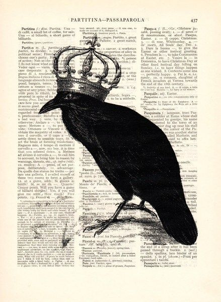 Wall Prints – Raven art Dictionary book page – a unique product by Dictionary-vintage-book-page on DaWanda