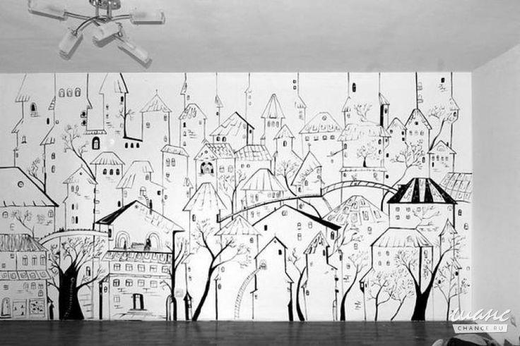 Рисунок города на стене комнаты пошагово