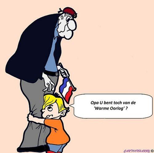 Cartoon van de Koude Oorlog jongen vraagt aan opa of hij niet in de koude oorlog heeft gevochten