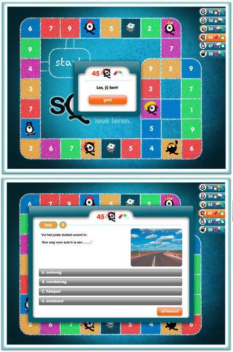 APP SQULA FAMILIEBORDSPEL: Spel om met meerdere spelers te spelen. Hierbij oefenen kinderen hun algemene kennis: taal, wiskunde, geschiedenis, spelling,... Je kan op voorhand voor elke speler een niveau instellen. Zo kan je als ouder ook samen met je kind spelen, elk op een ander niveau.