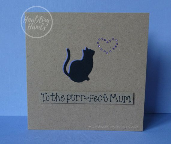 Unique Mothers Day handmade card with a cat silhouette and gem heart cat card for Mum / Mom.  This Mothering Sunday cat card for Mum / Mom has a silhouette of a cat sitting happily with gems in the shape of a heart. The colour of the shadow of the cat and the gems can be selected from the drop-down menu. The sentiment is added with 3D foam and reads: To the purr-fect Mum.  PERSONALISING YOUR CARD: You can choose the colour of the matching shadow and gems used to make the heart on th...