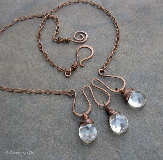 Metalwork Statement Necklace, Antiqued Copper Wire Wrapped Crystal Clear Briolettes