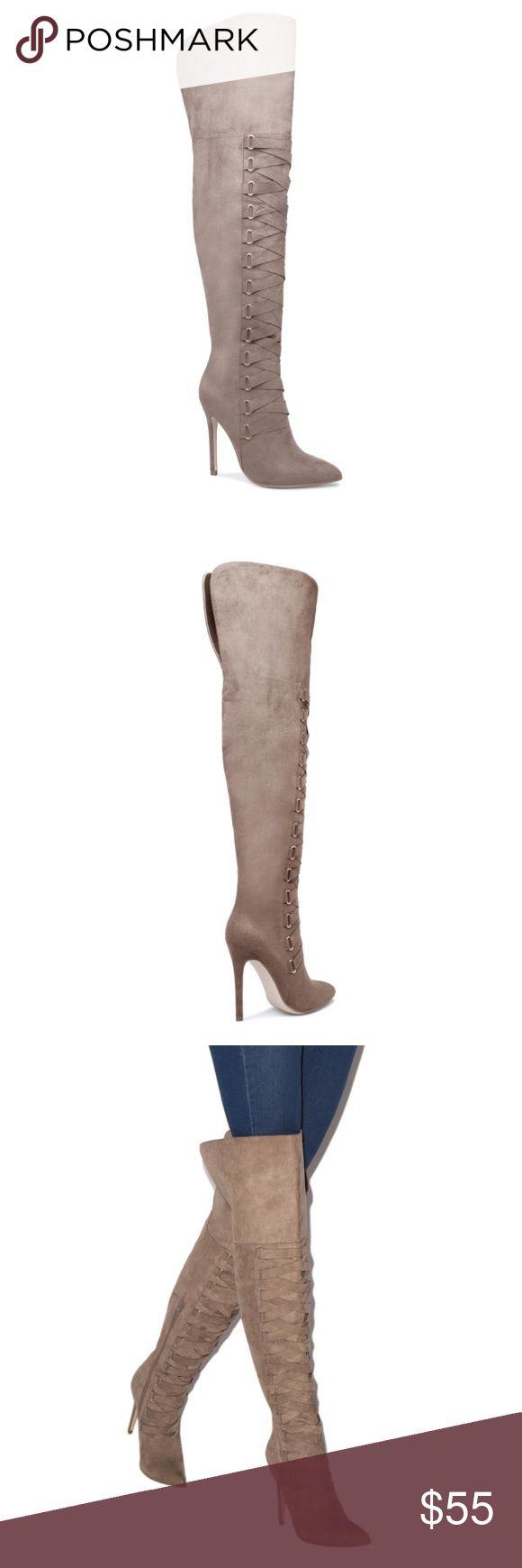 NWT Size 10 Shoe Dazzle Taupe OTK Corset Boots NWT Size 10 Shoe Dazzle Faux Suede Taupe OTK Corset Boots. Shoe Dazzle Shoes Over the Knee Boots