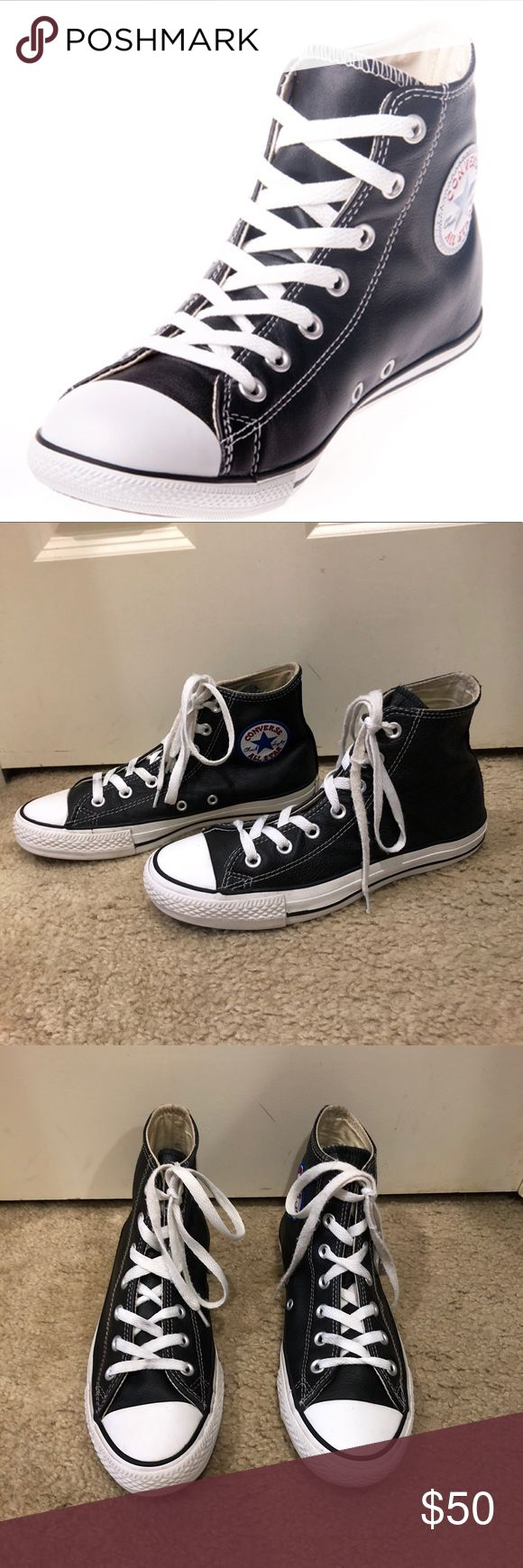 Converse Chuck Taylor leather slim fit high tops Converse Chuck Taylor leather slim fit shoes! Slim fit All leather Hi tops Perfect for fall and winter Pre-loved in excellent condition  Thank you for looking in our closet Please feel free to check out our other listings Converse Shoes Sneakers