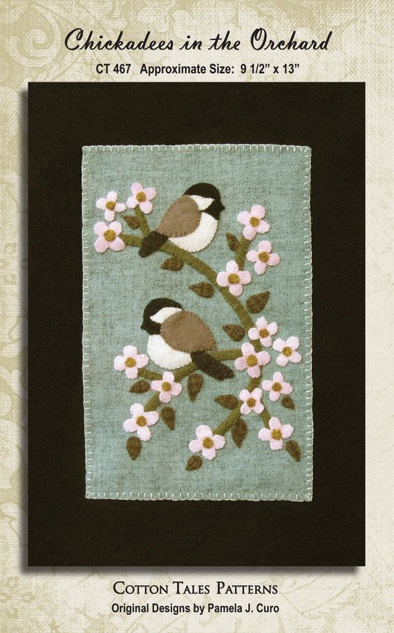 Chickadees in the Orchard Wool Applique Pattern