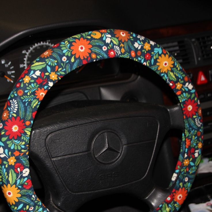 Navy floral steering wheel cover /red and orange and gold flowers wheel cover / Hostess gift idea / womens wheel cover / Vintage floral . by SouthernA on Etsy