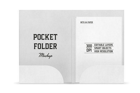 Pocket Folder Mockup With A4 Paper Folder Mockup Pocket Folder Pocket Folder Template