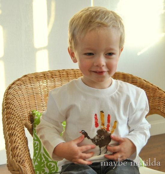 Maybe Matilda: Make a Turkey Handprint Thanksgiving Shirt (Dare to DIY)