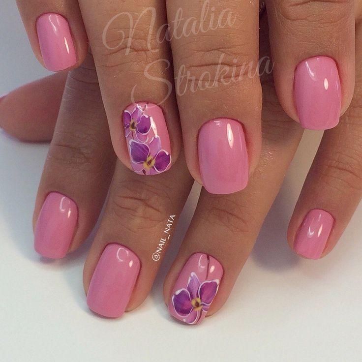 Beautiful nails 2016, Beautiful summer nails, Feminine nails, flower nail art, Gentle shellac nails, Medium nails, Pastel nails, Pink gel polish