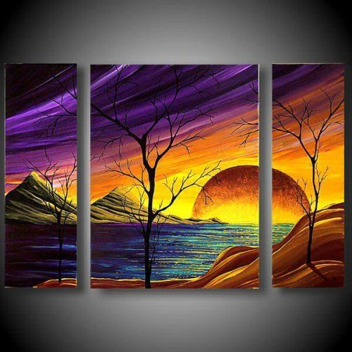 Huge setting sun, mountains, purple sky, tree silhouette painting. Hand Painted Scenery Painting On Canvas For Sale.