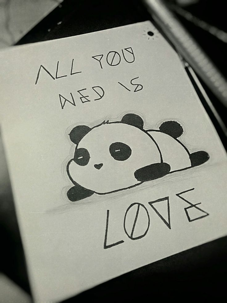 Panda All You Need Is Love Quote Cute Drawing Draw ...