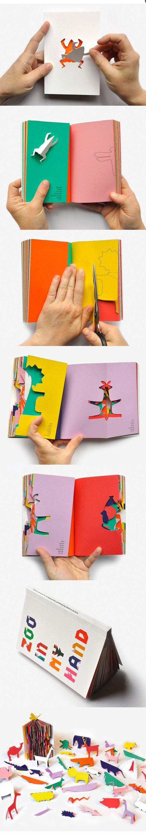 북디자인을 좋아하는데 정말 아기자기하고 귀여운 작품입니다. SunKyung Kim (김선경)님께서 만드신 책인데, 컬러 종이를 반으로 접어서 노트북으로 만들고 각 페이지마다 그려져있는 동물을 가위로 자르면 동물이 하나하나씩 생깁니다. 자르고 나면 다양한 동물이 나오는데요, 기린 부터 사자 그리고 돼지까지 없는게 없네요. 잘린 부분을 제외한 노트안에 페이지들도 디자인이네요. 정말 아름답습니다. 이분 대해서 정보가 없어서 이것저것 찾아보는중 IK & SK Design Studio를 운영하고 계시더라구요, (Inkyeong & Sunkyung)님 두분이 자매이신데 같이 운영하세요. 프랑스 Reims School of Art & Design에서 둘이 같이 졸업하셨고 저 위에 작품처럼 북디자인과 페이퍼아트를 주로 하시는것 같아요. A zoo in the palm of your hands by Sunkyung Kim. - 추가 글 올립니다. 책 주문...