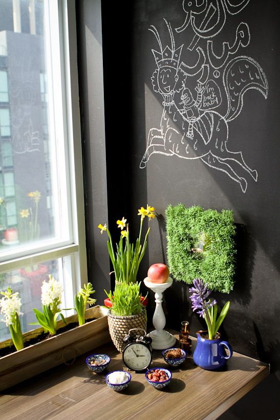 Modern haft-seen (traditional spread for the Persian new year).... Cute for apartment