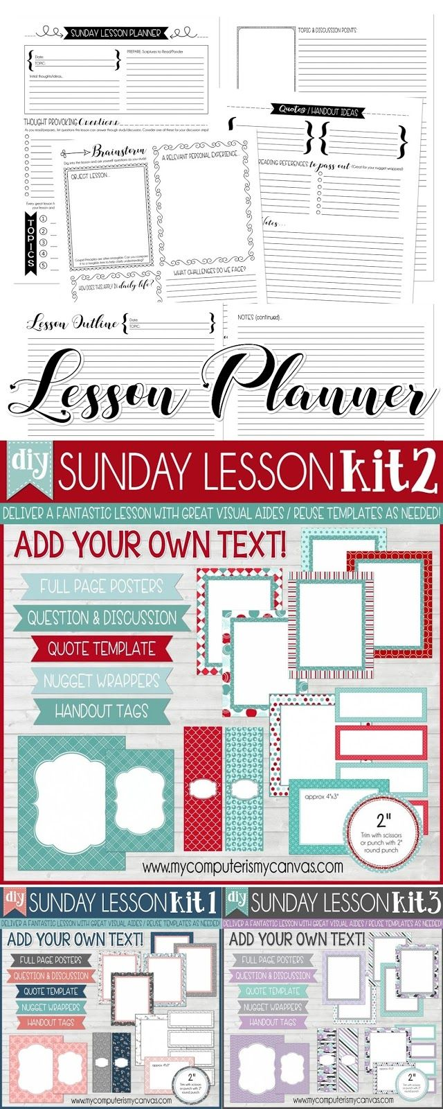 DIY Sunday Lesson Kits - Blank EDITABLE Templates to create visuals for any lesson, any age at any church! BLANK Handout Tags and Nugget Wrappers included + lesson planner pages too! YW Lesson Kits, RS Lesson Kits, Come Follow Me, Editable Sunday Lesson Kits, #mycomputerismycanvas