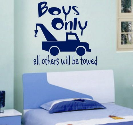 Vinyl Wall Lettering Quotes Words Boys Only Tow Truck Decal