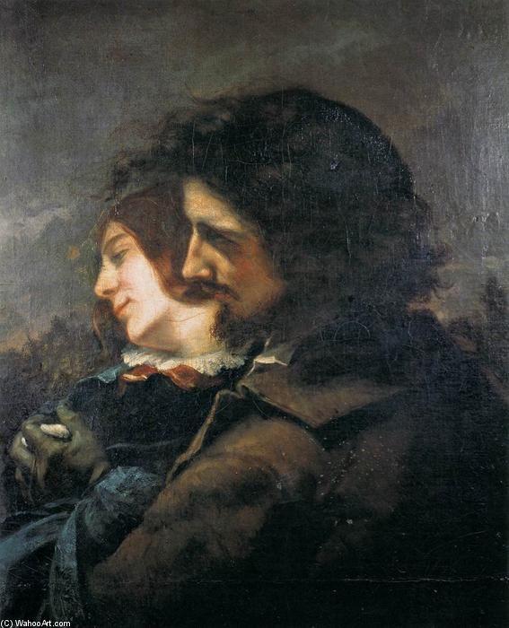 'liebhaber in der land', öl auf leinwand von Gustave Courbet (1819-1877, France)