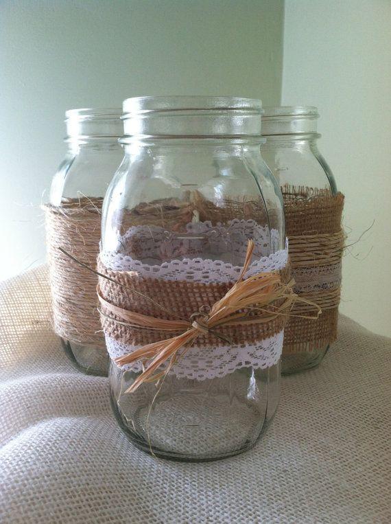 Set of 3 Mason Jars burlap twine lace by JarsByJade on Etsy, $10.00