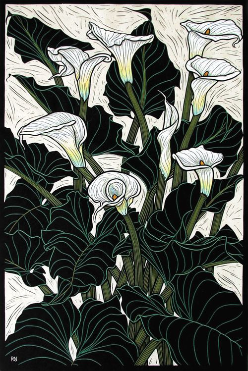 Arum Lily74.5 x 50 cm    Edition of 50Hand coloured linocut on handmade  Japanese paper.  Rachel Newling.