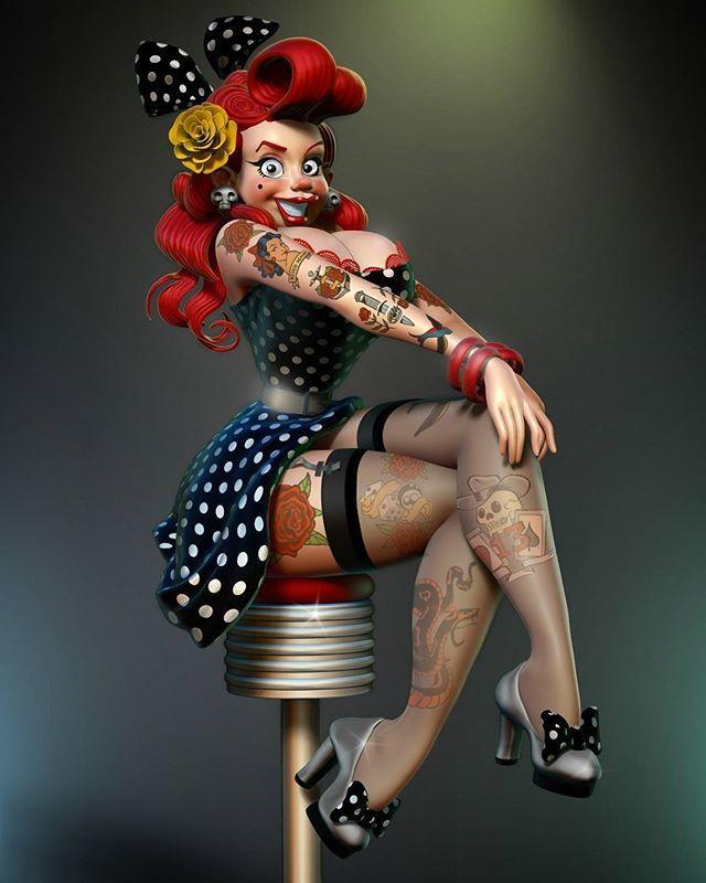 @gerardocastellanos #pixologic #pinup #zbrush #rockabilly #characterdesign #pinuptattoo #tattoo #girl3d #pinuparena #conceptart