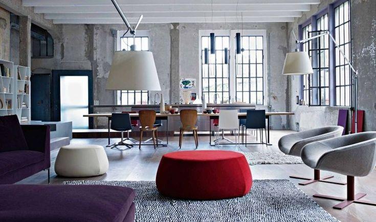 meubles et déco vintage ottoman touge chaises et suspensions